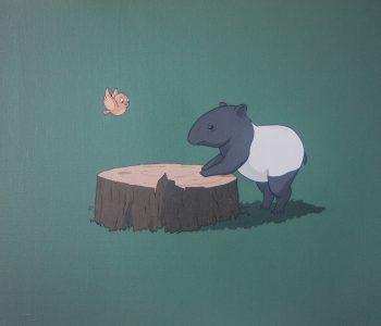 Тапир и птичка